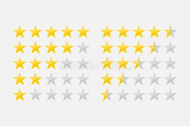五个apps和网站的星顾客产品规定值回顾平的象 向量例证
