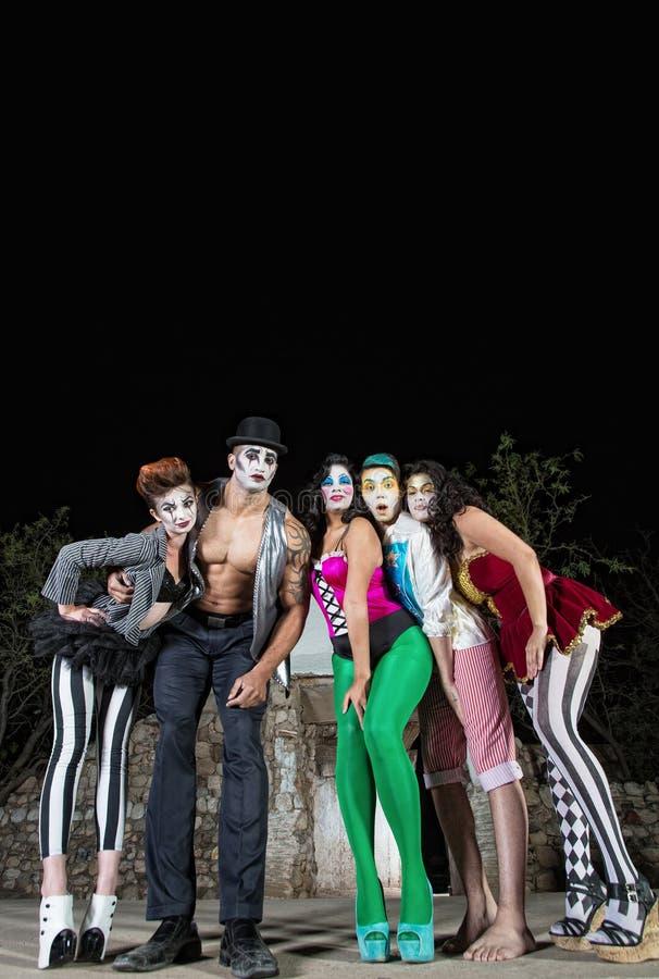 五个Cirque小丑 免版税库存图片