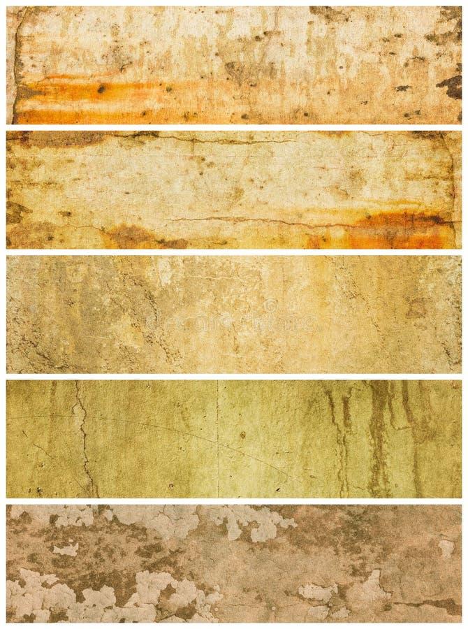 五个grunge面板构造了 库存图片