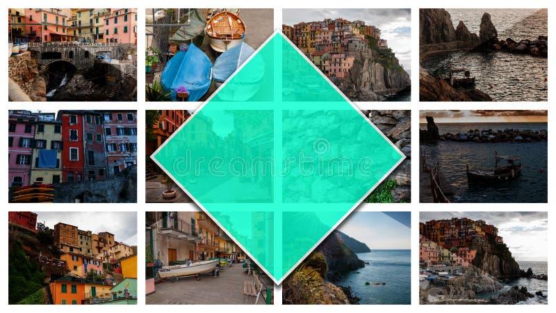 五乡地,意大利拼贴画照片,以2:3格式 免版税库存照片