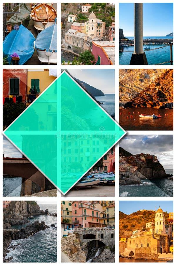 五乡地,意大利拼贴画照片,以2:3格式 库存图片