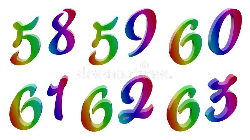 五十八,五十九,六十,六十一,六十二,六十三, 58, 59, 60, 61, 62, 63个书法3D回报了数字,数字 皇族释放例证