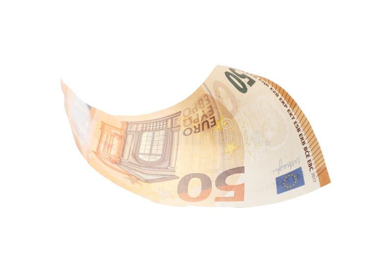 五十在白色背景隔绝的欧元,财务,事务,经济 免版税库存照片