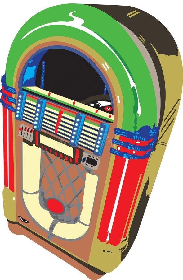 五十年代自动电唱机老牌 向量例证