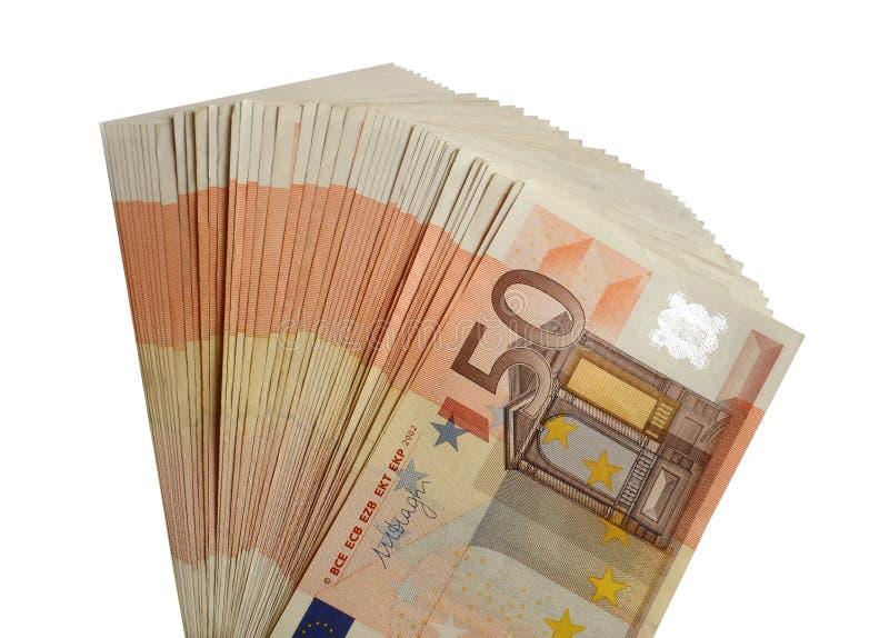 五十张欧洲钞票被隔绝的盒50欧元 免版税库存图片
