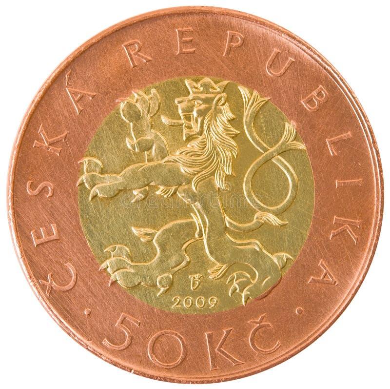 五十捷克克罗钠硬币。 库存图片