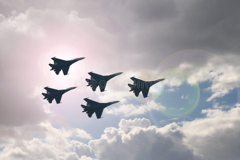 五台喷气式歼击机 免版税库存照片