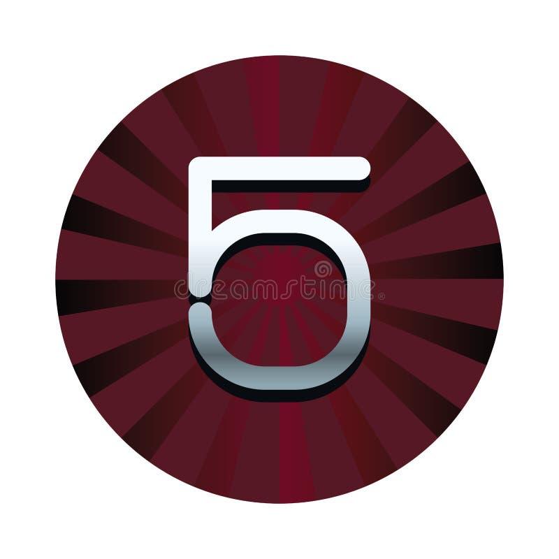 五在红色圆的标志的数字 向量例证
