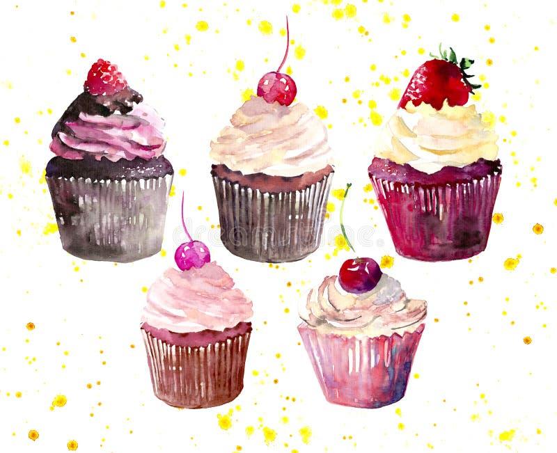 五块明亮的美丽的嫩可口鲜美美味的夏天点心杯形蛋糕用红色樱桃草莓和莓在黄色spra 皇族释放例证