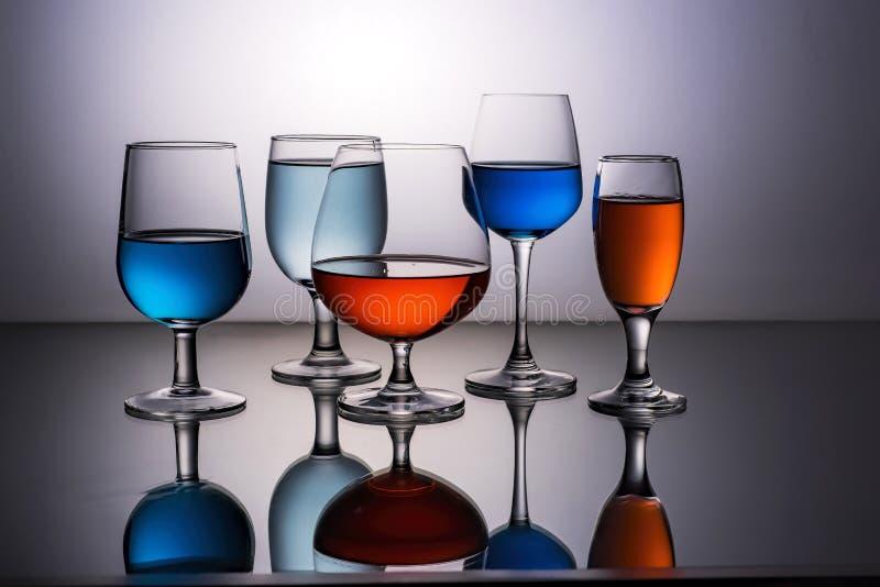 五块玻璃酒 免版税图库摄影