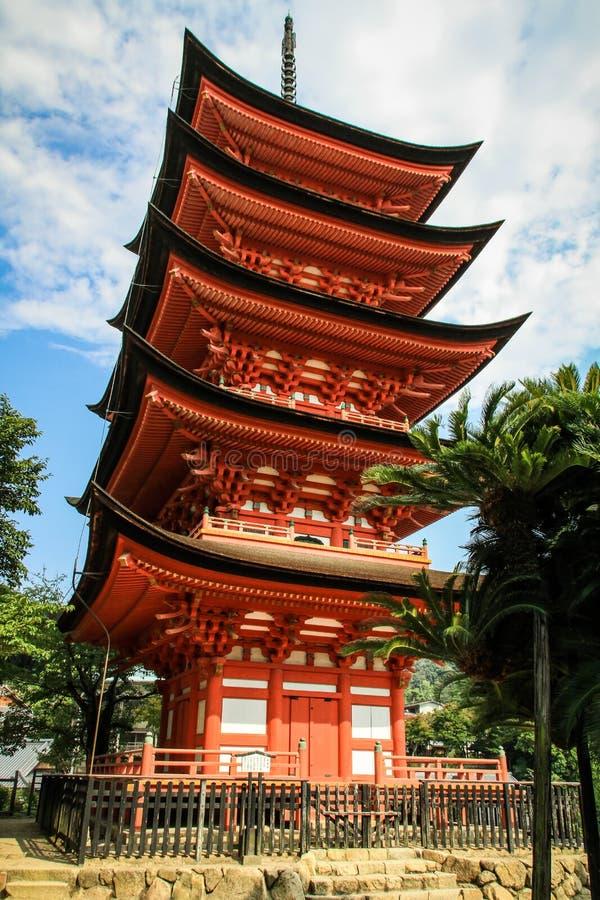 五层塔Gojunoto, Toyokuni寺庙Senjokaku,宫岛,广岛,日本 库存照片