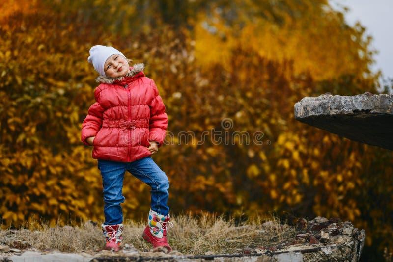 五岁的微笑的女孩在秋天公园 免版税图库摄影