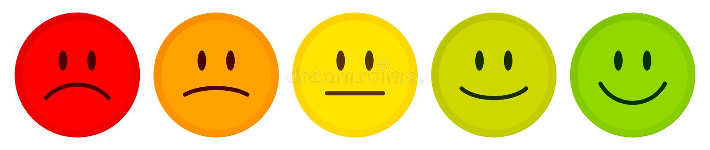 五张面孔红色心情的颜色绿化 库存例证