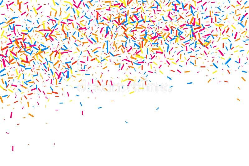 五彩纸屑五颜六色的爆炸  在白色背景隔绝的粒状抽象多彩多姿的纹理 平的设计元素 向量 库存例证