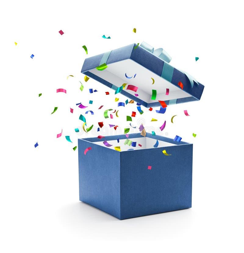 五彩纸屑出去从蓝色礼物盒 库存例证