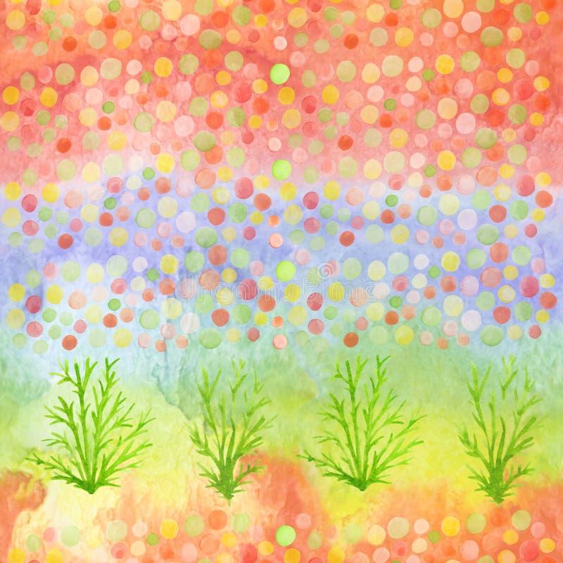 五彩纸屑和植物的明亮的现代无缝的手拉的样式 水彩弄脏了彩虹,孩子纺织品的,织品样式 库存例证