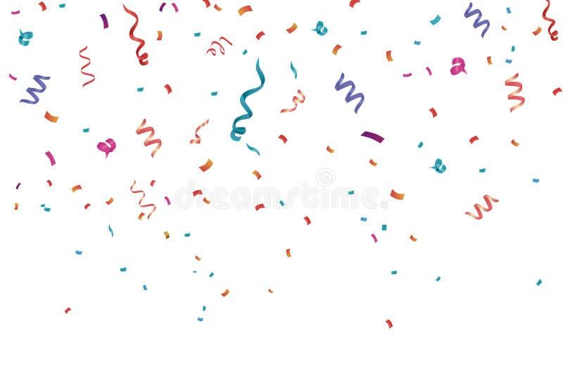 五彩纸屑庆祝框架背景 水平,周年 库存例证