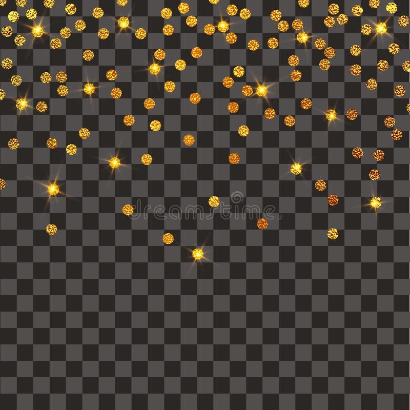 五彩纸屑欢乐爆炸  金子闪烁背景 加点金黄 传染媒介例证圆点 库存例证