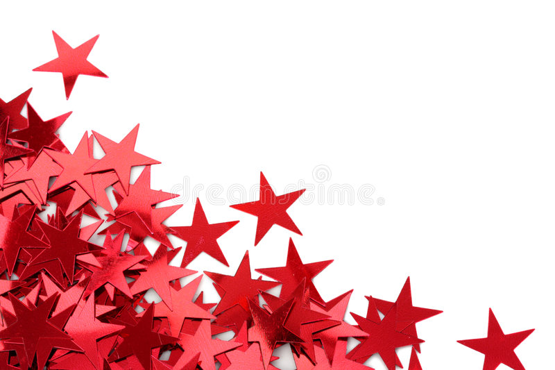 五彩纸屑红色星形 库存照片