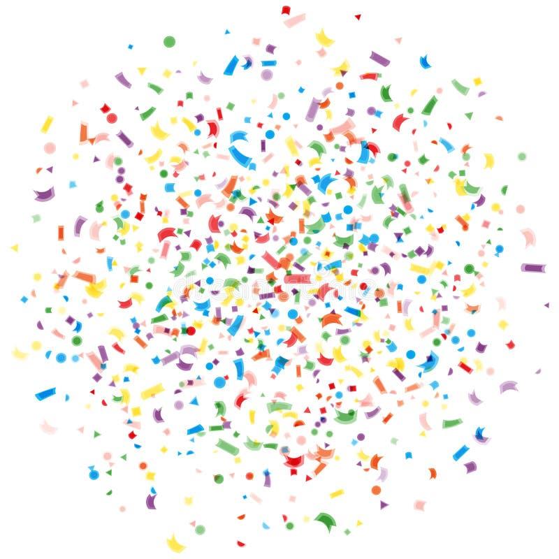 五彩纸屑,被隔绝的白色背景抽象五颜六色的爆炸  假日,党背景 多彩多姿的五彩纸屑 皇族释放例证