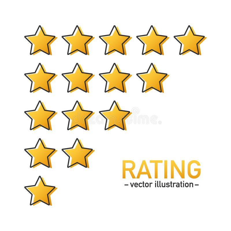 五星对估计的象传染媒介 网站或应用程序的被隔绝的徽章 星顾客产品规定值回顾 r 皇族释放例证