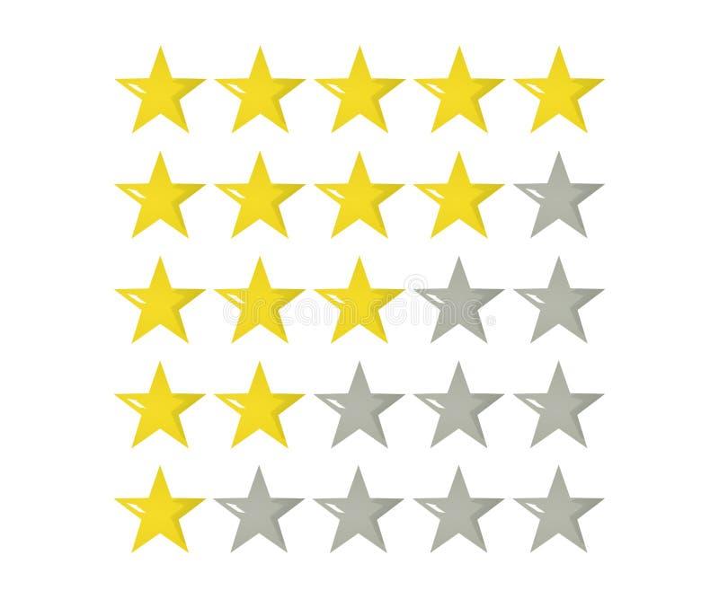 五星对估计的象3d例证 网站或应用程序的被隔绝的徽章 皇族释放例证