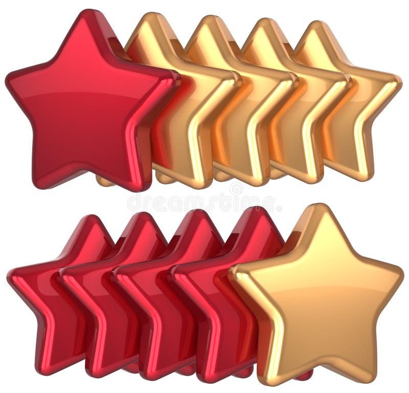 五星形服务金子红色金黄领导 向量例证