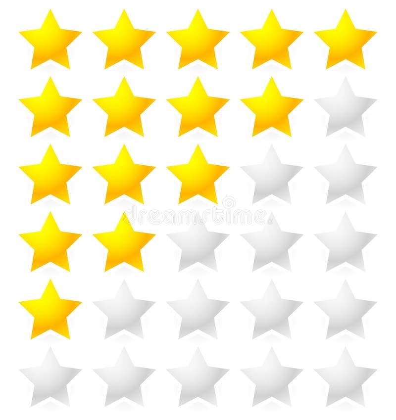 五星评估系统 星与明亮的星形状的规定值传染媒介 向量例证
