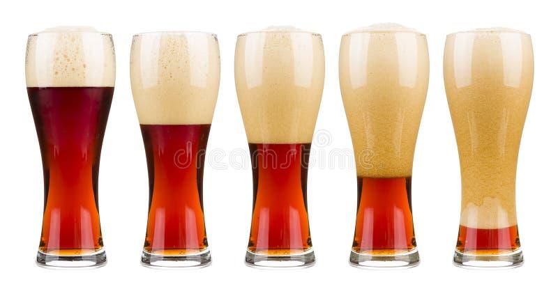 五杯红色啤酒 免版税库存照片