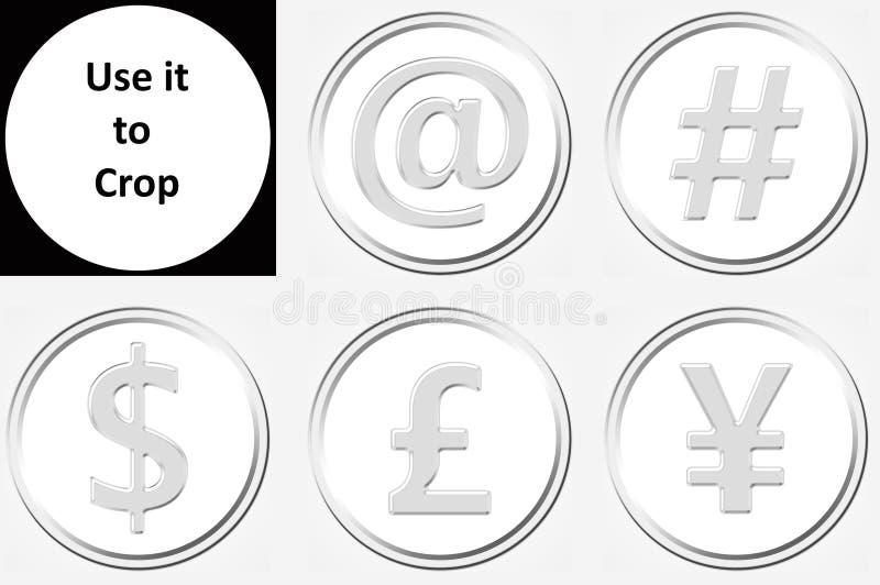 五枚镀铬物金属硬币 图标 免版税库存照片