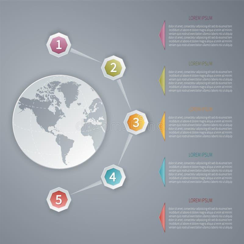五步导航3D与世界地图的infographic模板 向量例证