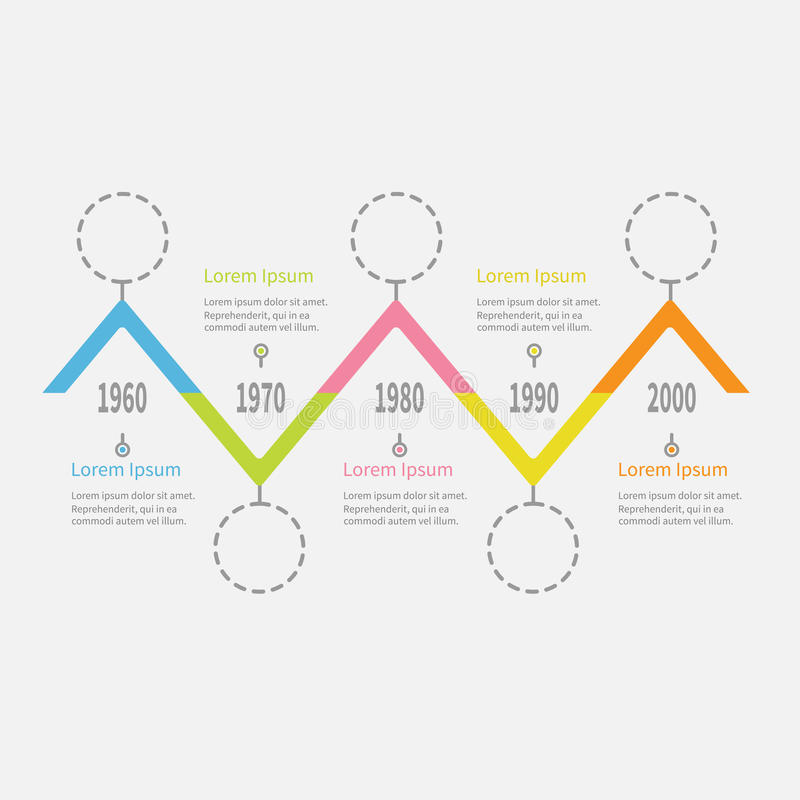 五步时间安排Infographic 破折号线圆的圈子 五颜六色的三角角落段 模板 平的设计 奶油被装载的饼干 向量例证