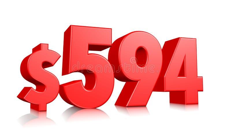594$五百九十四个价格标志 红色文本数字3d回报与在白色背景的美元的符号 库存例证