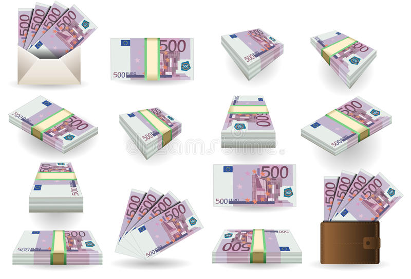 五百张欧元钞票全套  向量例证
