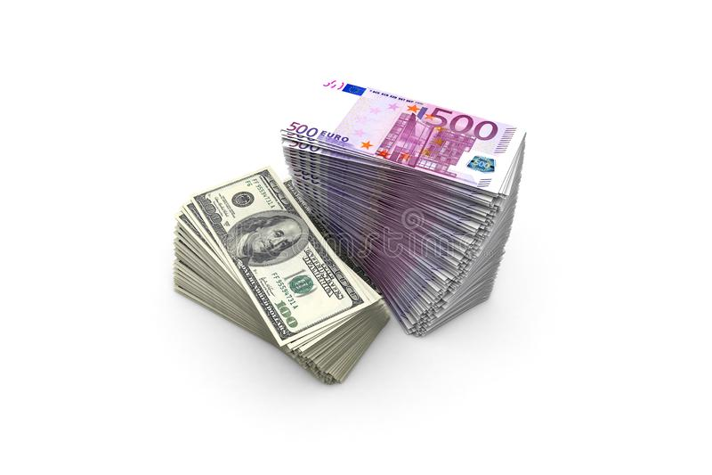 五百欧元和一百美元钞票甲板在白色的 皇族释放例证