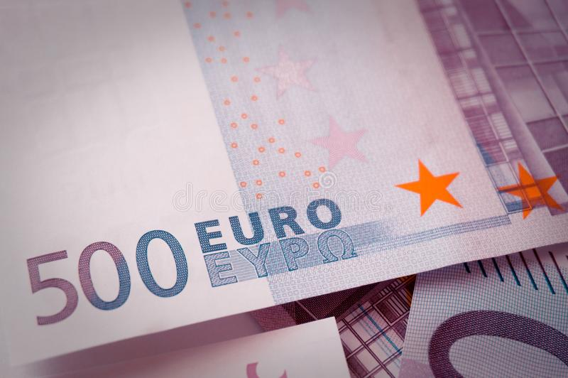 五百欧元钞票全息图 免版税库存照片