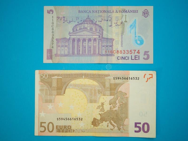 5五罗马尼亚列伊和50五十欧元钞票 免版税库存图片