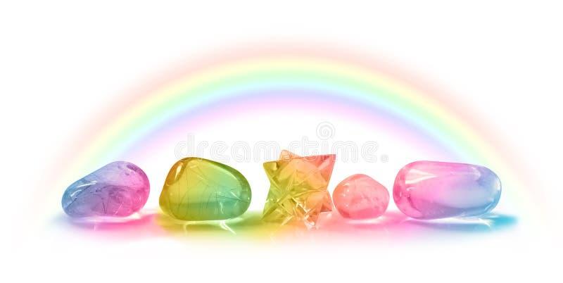 五美丽的彩虹医治用的水晶 库存图片