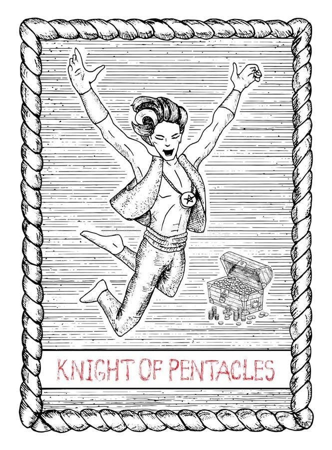 五芒星形的骑士 占卜用的纸牌 皇族释放例证