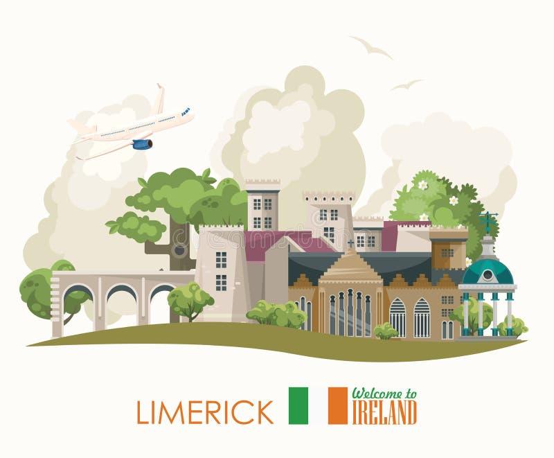 五行民谣城市 与地标的爱尔兰传染媒介平的设计卡片,爱尔兰城堡,绿色领域 库存例证