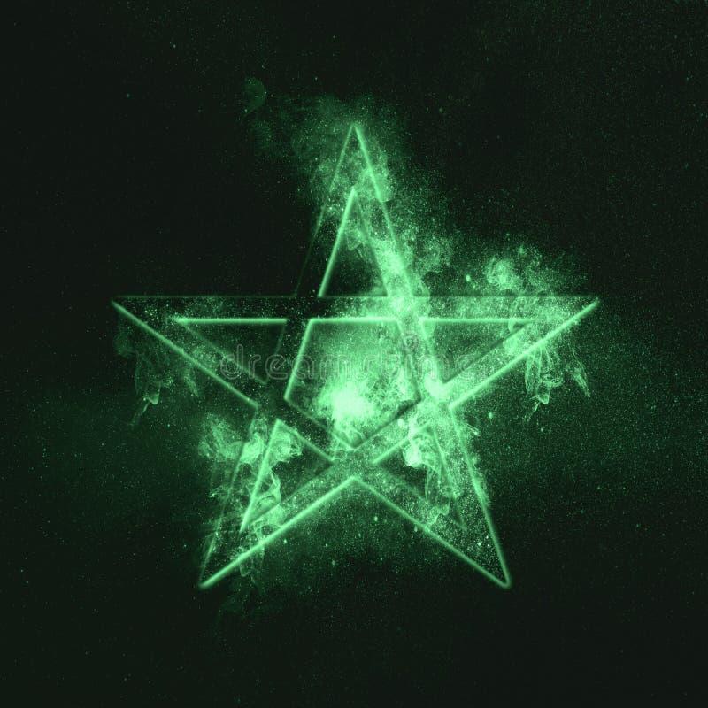五角星形标志 绿色符号 免版税图库摄影