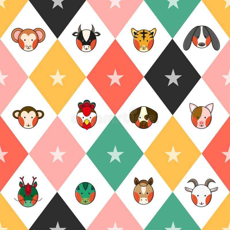 五颜六色中国黄道带12动物标志棋盘金刚石背景 向量例证