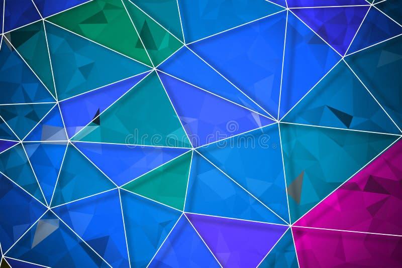 五颜六色几何弄皱三角低多 向量例证