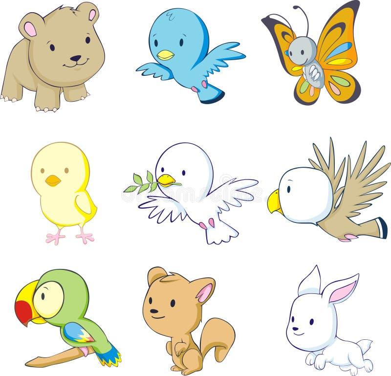 五颜六色动物的婴孩 向量例证