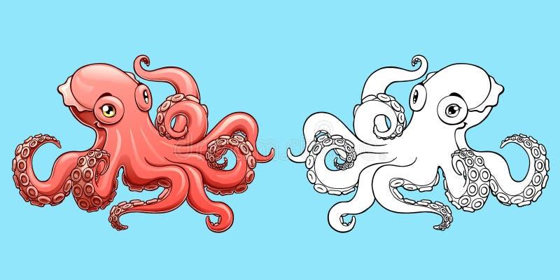 五颜六色可爱的桃红色的章鱼和等高 皇族释放例证