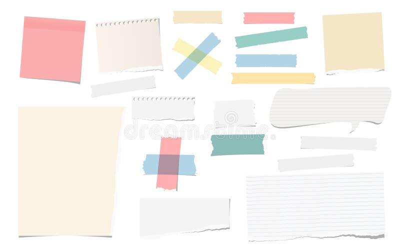 五颜六色和白色胶粘剂,稠粘,掩没,胶带在白色编结被撕毁的笔记,文本的笔记本纸被隔绝 皇族释放例证