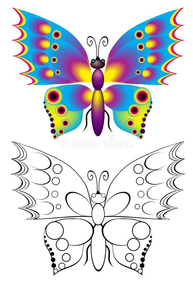 五颜六色和黑白样式蝴蝶 皇族释放例证