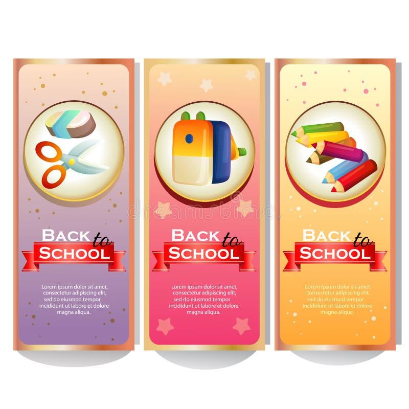 五颜六色回到与固定式的学校的校旗汇集 皇族释放例证
