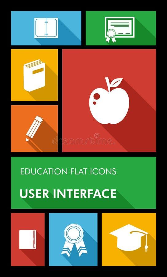 五颜六色回到学校用户界面流动app  皇族释放例证