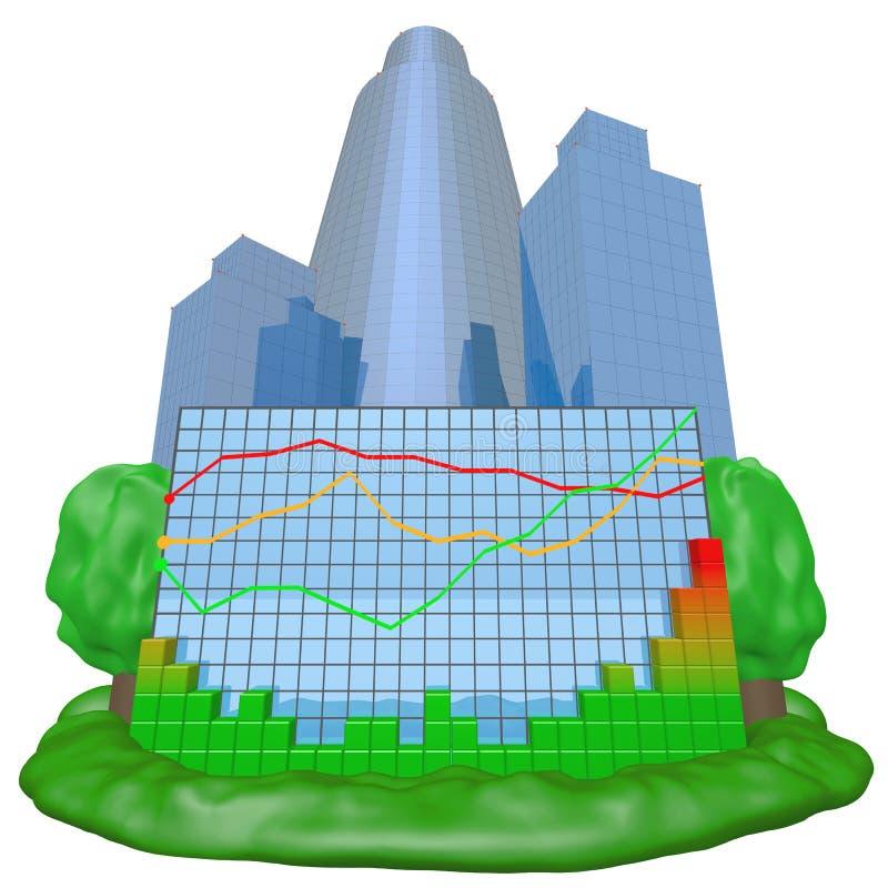 五颜六色图表的城市 向量例证